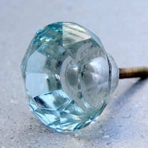 Diamond Glass - Aqua 5cm - Door Drawer Knob