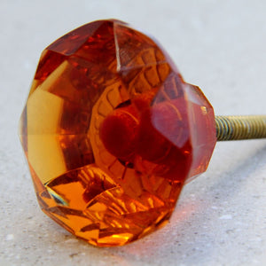 Diamond Glass - Amber 5cm - Door Drawer Knob