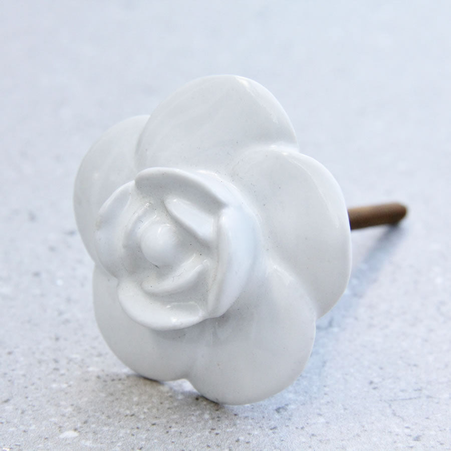 Large Flower - Ceramic White - Door Draw Knob