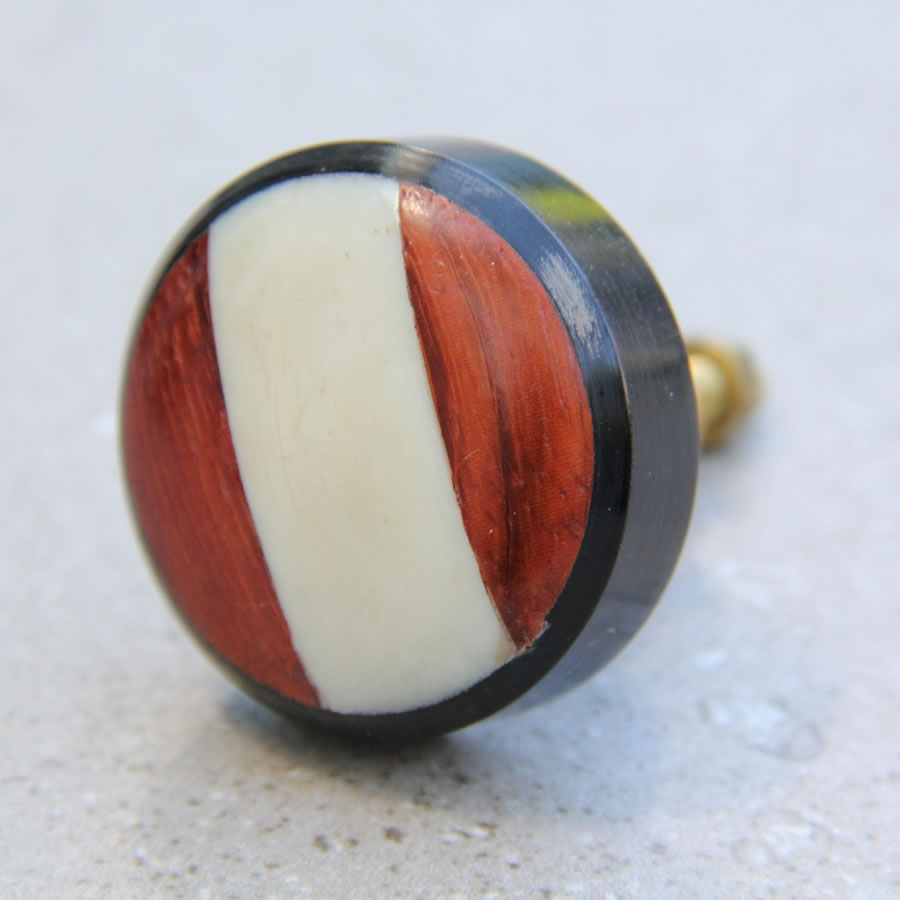 Wooden Door Knob - Brown and White Stripe