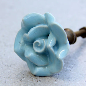 French Rose - Medium Pale Blue Ceramic - Chest of Drawer Knob