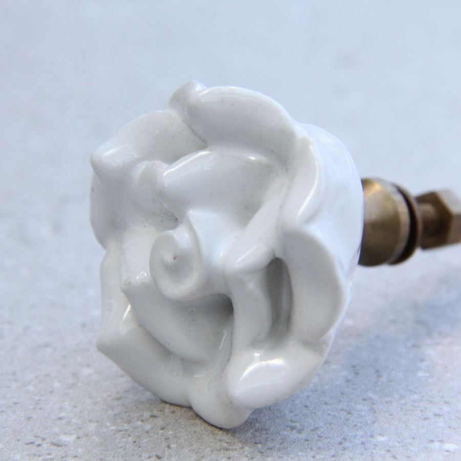 French Rose - Medium White Ceramic - Door Drawer Knob