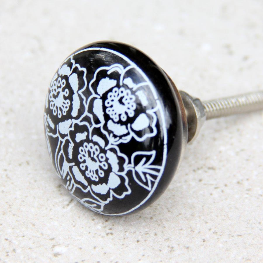 Black With White Flower - Round Door Knob