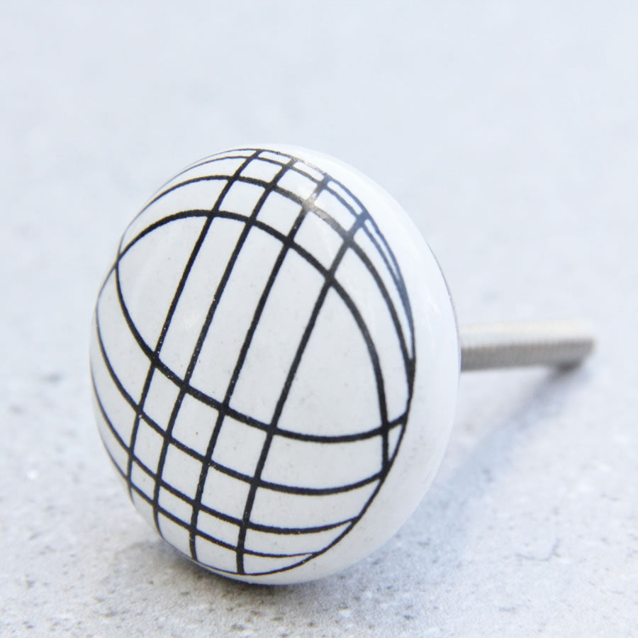 White with Black Curved Lines - Ceramic Door Knob
