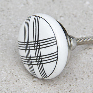 White with Black Lines - Ceramic Door Knob