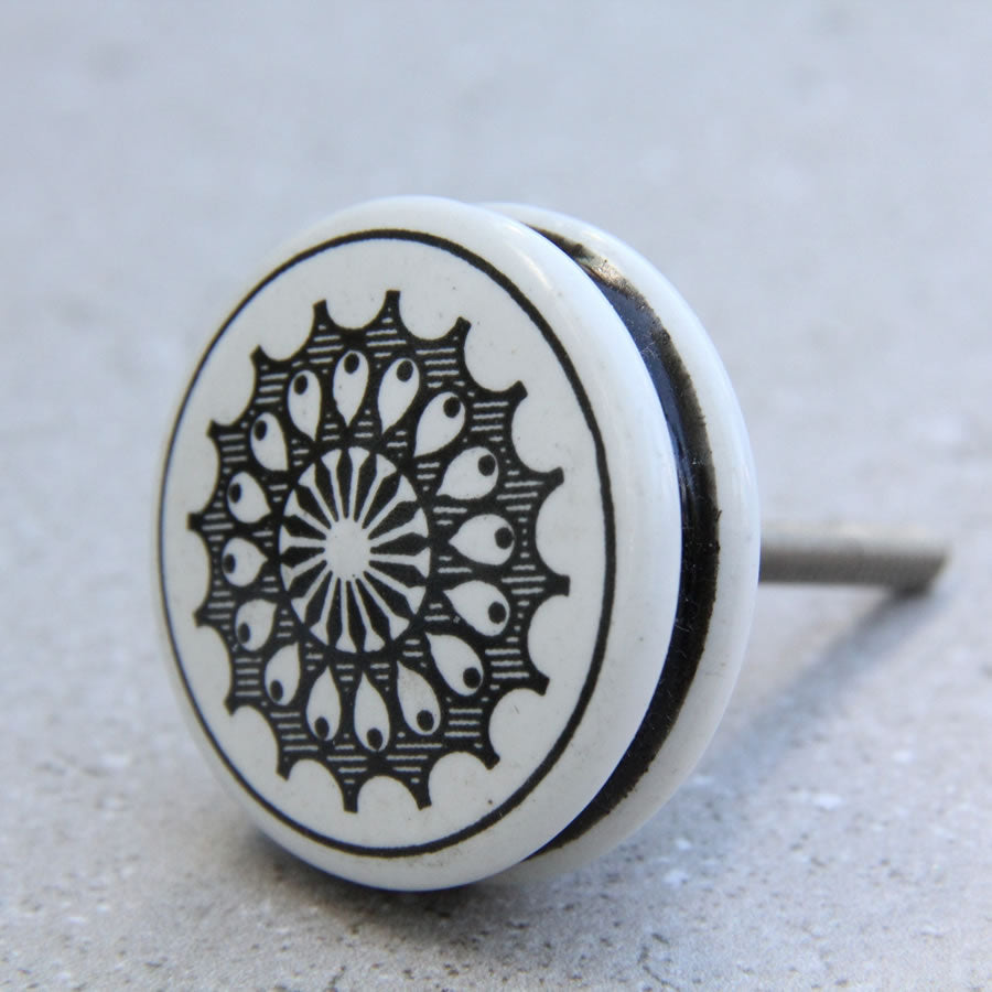 Turkish White with Black Pattern - Ceramic - Door Drawer Knob