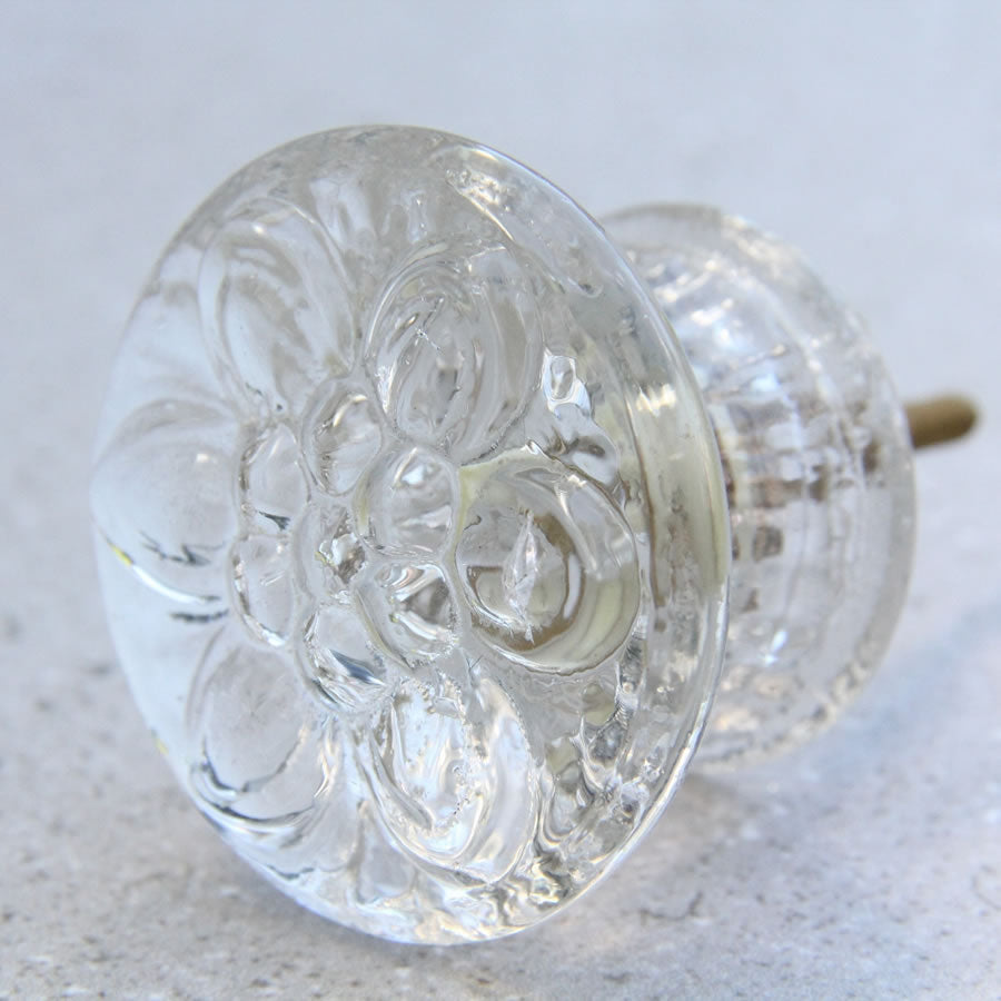Acrylic Door Knob - Clear Flower Pattern - Large
