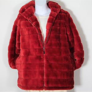 Jacket - Faux  Fur - with Hood - Red