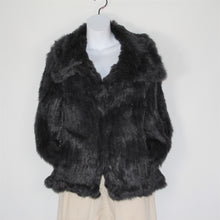 Load image into Gallery viewer, Jacket-Rabbit Fur Collar That Clips All the Way - Navy