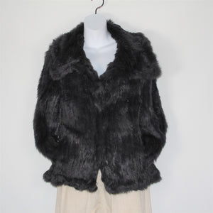 Jacket-Rabbit Fur Collar That Clips All the Way - Navy