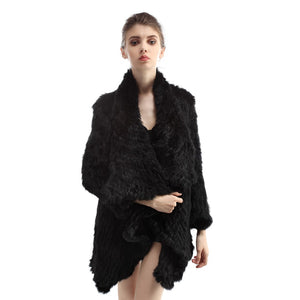 Jacket - Rabbit Fur Long Jacket - Black