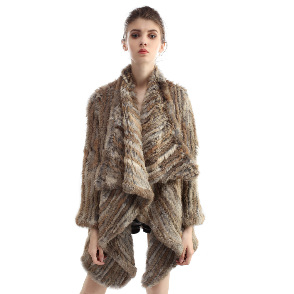 Jacket - Rabbit Fur Long Jacket - Natural Brown