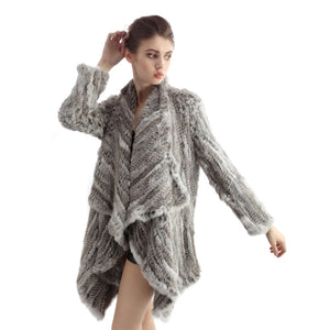 Jacket - Rabbit Fur Long Jacket - Natural Grey