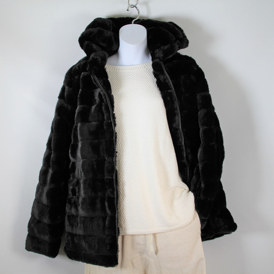 Jacket- Faux  Fur - with Hood - Black
