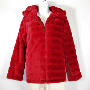 Jacket Faux Fur Hood Burgundy
