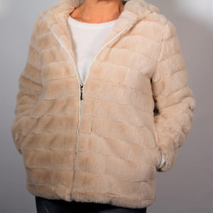 Jacket- Faux  Fur - with Hood - Beige