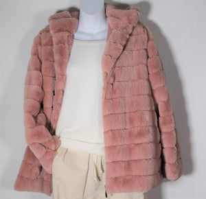 Jacket- Faux  Fur - with Hood - Soft pink