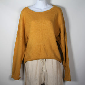 Jumper- Knit Wool Round Neck - Mustard