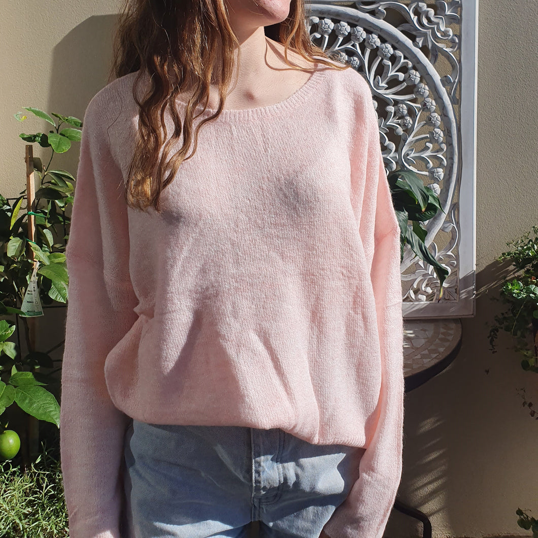Jumper- Knit Wool Round Neck - Pale Pink