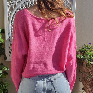 Jumper- Knit Wool Round Neck -Hot Pink