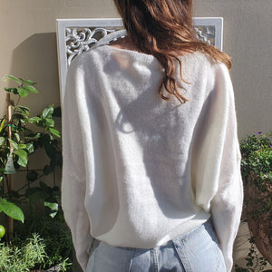 Jumper- Knit Wool V Neck - White