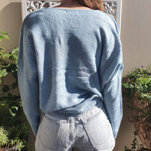 Load image into Gallery viewer, Jumper- Knit Wool V Neck - Pale Blue