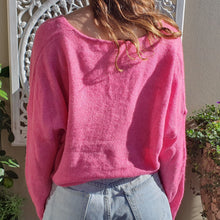 Load image into Gallery viewer, Jumper- Knit Wool V Neck - Hot Pink