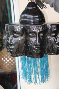 Black Metal Faces with Coloured Bead Tassels (Blue)