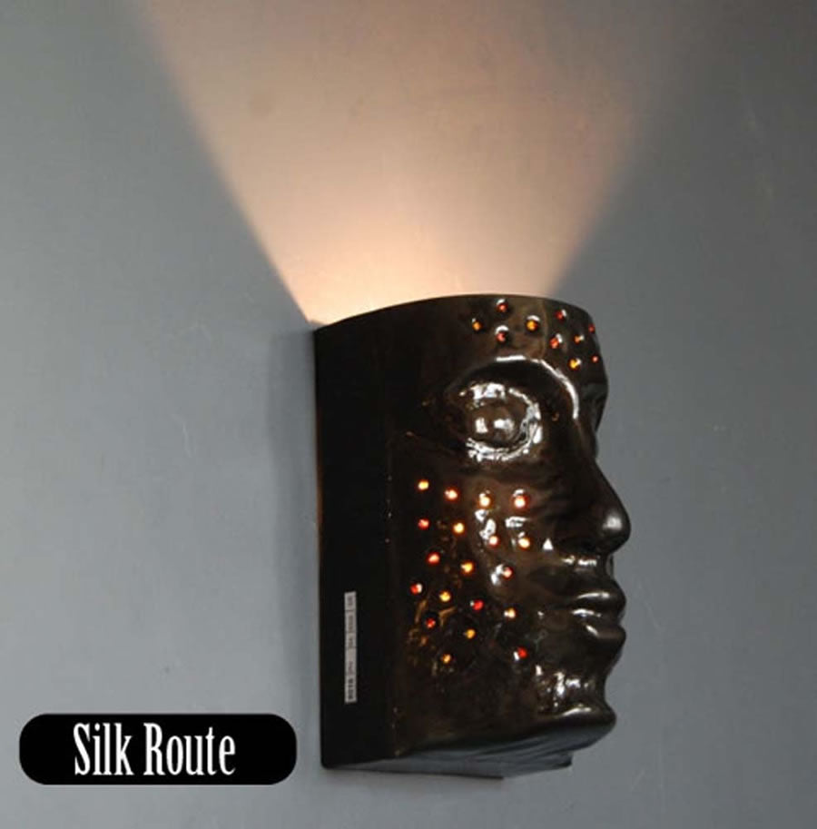 Wall Light - Metal face - Black with Red Beads
