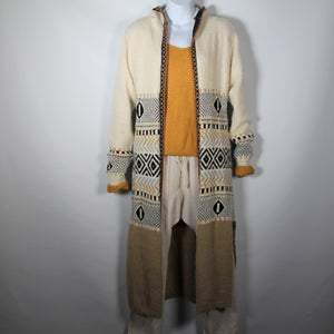 Cardigan Knitted wool Long with Long Sleeve Wool Blend Aztec Pattern Camel with Hood