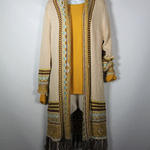 Cardigan Long Knitted wool with Long Sleeve Tassel Mustard