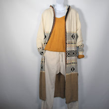 Load image into Gallery viewer, Cardigan Knitted wool Long with Long Sleeve Wool Blend Aztec Pattern Camel with Hood