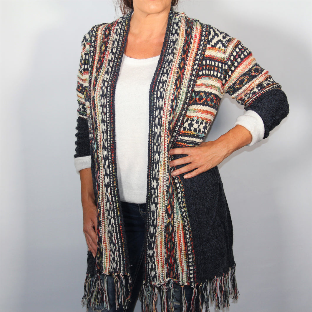 Cardigan Knitted wool with Long Sleeve Tassel Navy