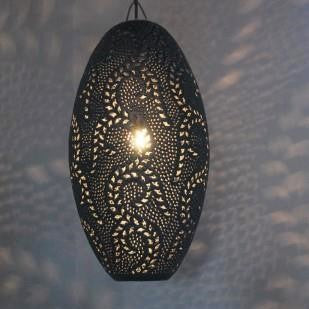 Pendant -Oval Leaf Pattern- Matte Black