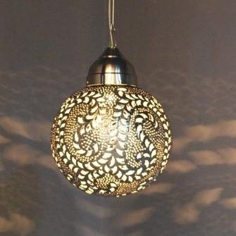 Small Ball Leaf Pattern Pendant Light -Silver