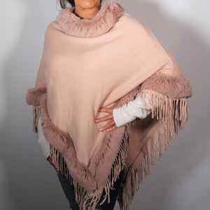 Poncho- Faux Fur Top and Bottom - Soft Pink - Silk Route