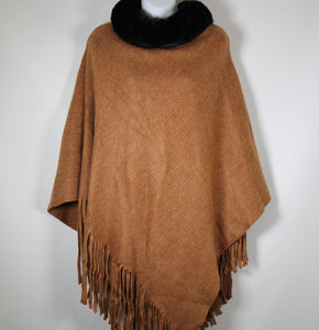 Poncho- Faux Fur Top  - Tan - Silk Route