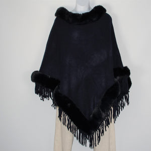 Poncho - Faux Fur Top and Bottom - Navy