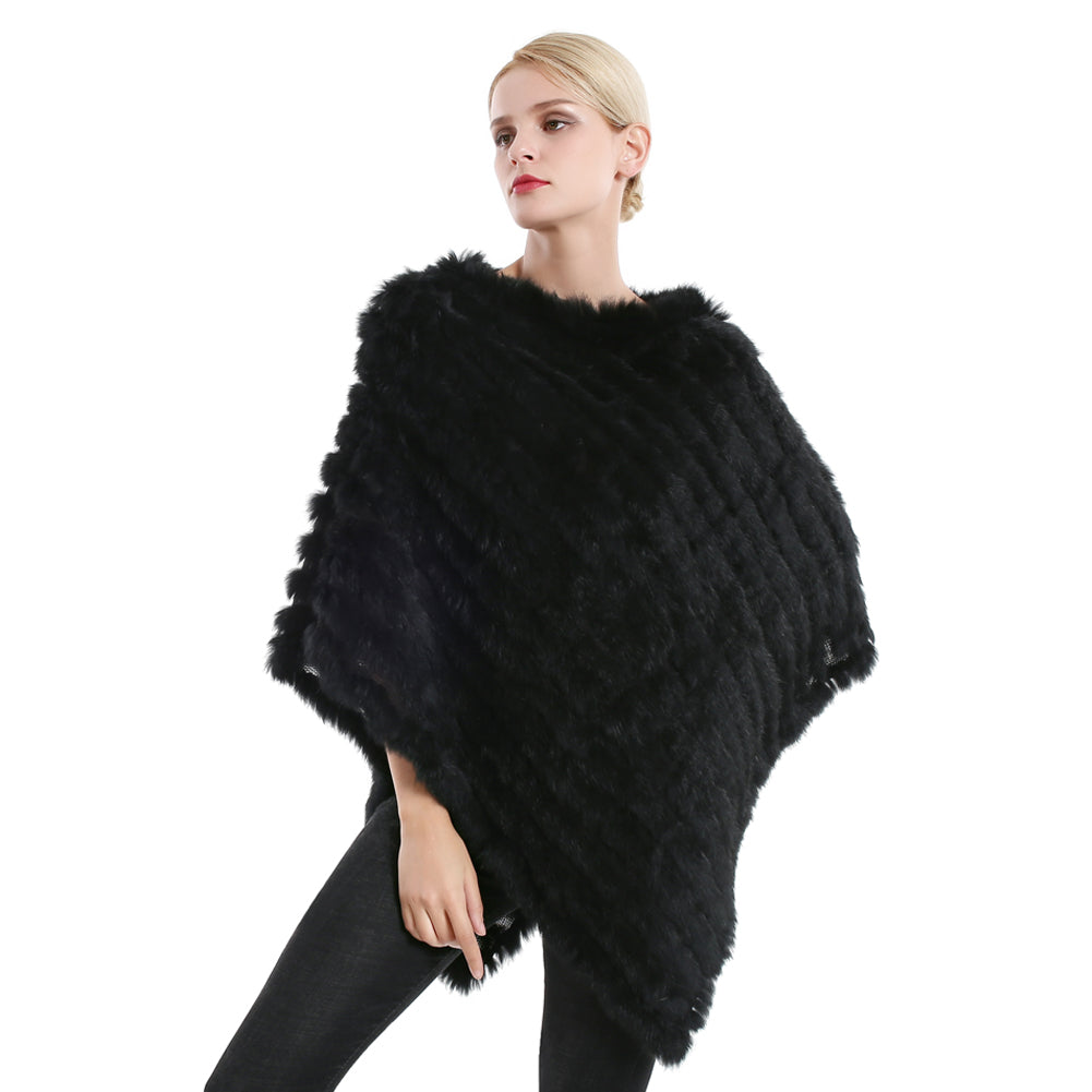 Poncho - Long Rabbit Fur - Black