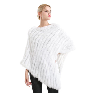 Poncho - Long Rabbit Fur - White