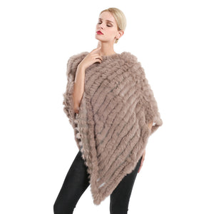 Poncho - Long Rabbit Fur - Soft Brown