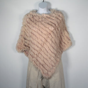 Poncho - Rabbit Fur -Soft pink