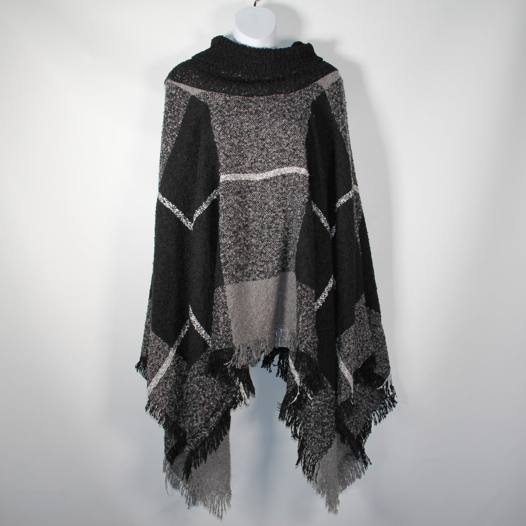 Poncho- Check Print -Grey- Silk Route