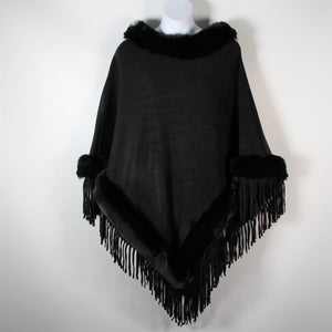 Poncho- Faux Fur Top and Bottom - Black - Silk Route