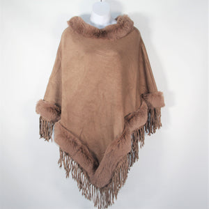 Poncho- Faux Fur Top and Bottom - Soft Brown - Silk Route