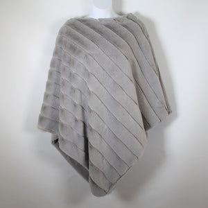 Poncho -  Faux Fur - Light Grey