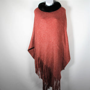 Poncho- Faux Fur Top  -Red - Silk Route