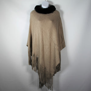 Poncho- Faux Fur Top  -Soft Brown- Silk Route