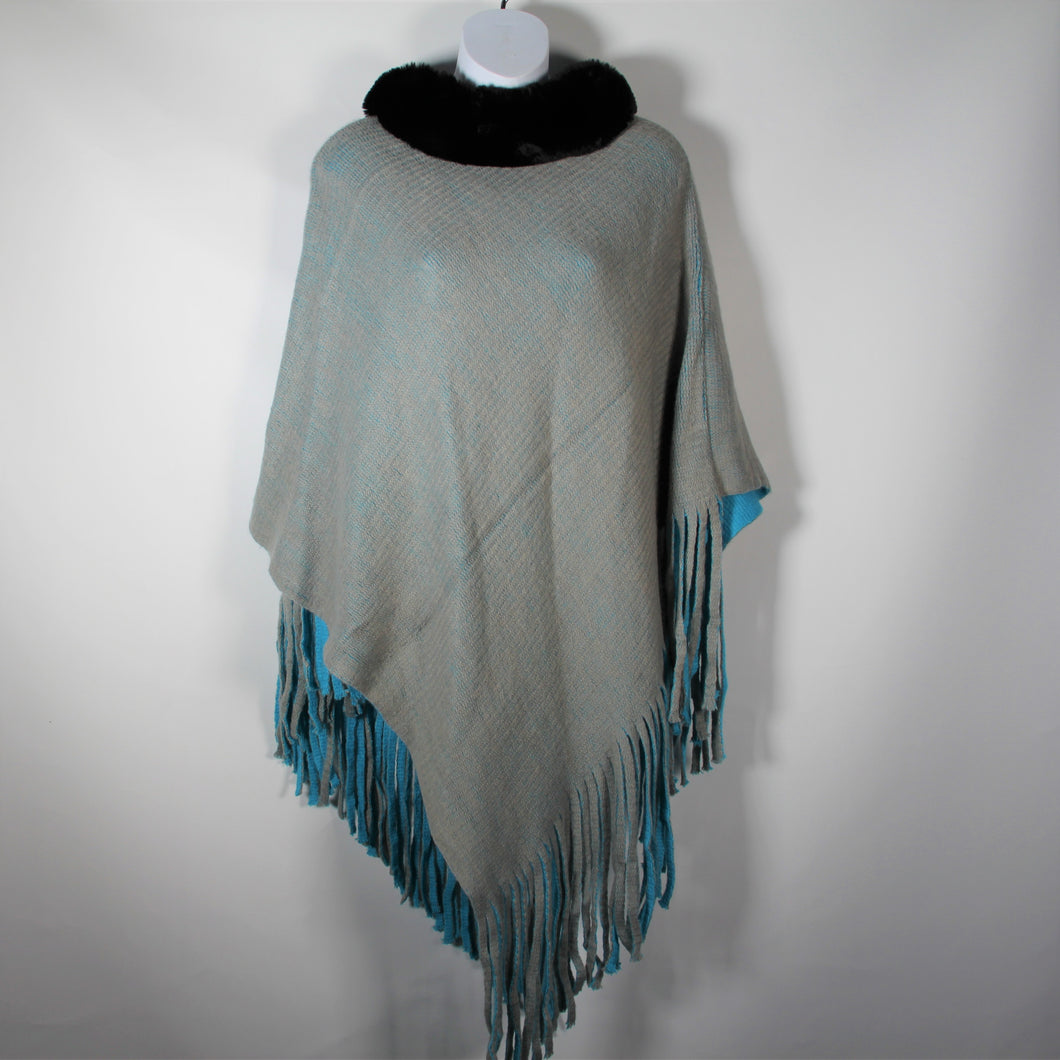 Poncho- Faux Fur Top  - Turquoise - Silk Route