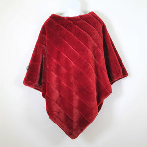 Poncho - Faux Fur - Red